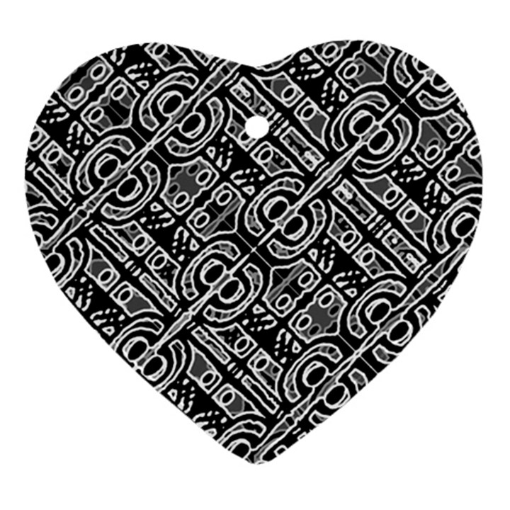 Linear Black And White Ethnic Print Heart Ornament (Two Sides)
