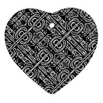 Linear Black And White Ethnic Print Heart Ornament (Two Sides) Back