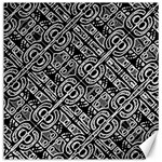 Linear Black And White Ethnic Print Canvas 12  x 12  11.4 x11.56  Canvas - 1