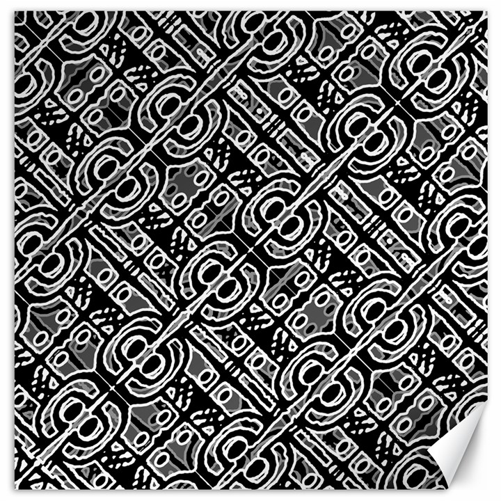Linear Black And White Ethnic Print Canvas 12  x 12