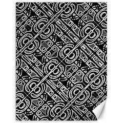 Linear Black And White Ethnic Print Canvas 12  X 16  by dflcprintsclothing
