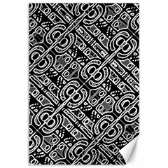 Linear Black And White Ethnic Print Canvas 12  X 18  by dflcprintsclothing