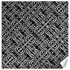 Linear Black And White Ethnic Print Canvas 16  X 16  by dflcprintsclothing