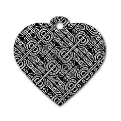 Linear Black And White Ethnic Print Dog Tag Heart (one Side) by dflcprintsclothing