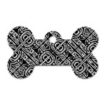 Linear Black And White Ethnic Print Dog Tag Bone (One Side) Front