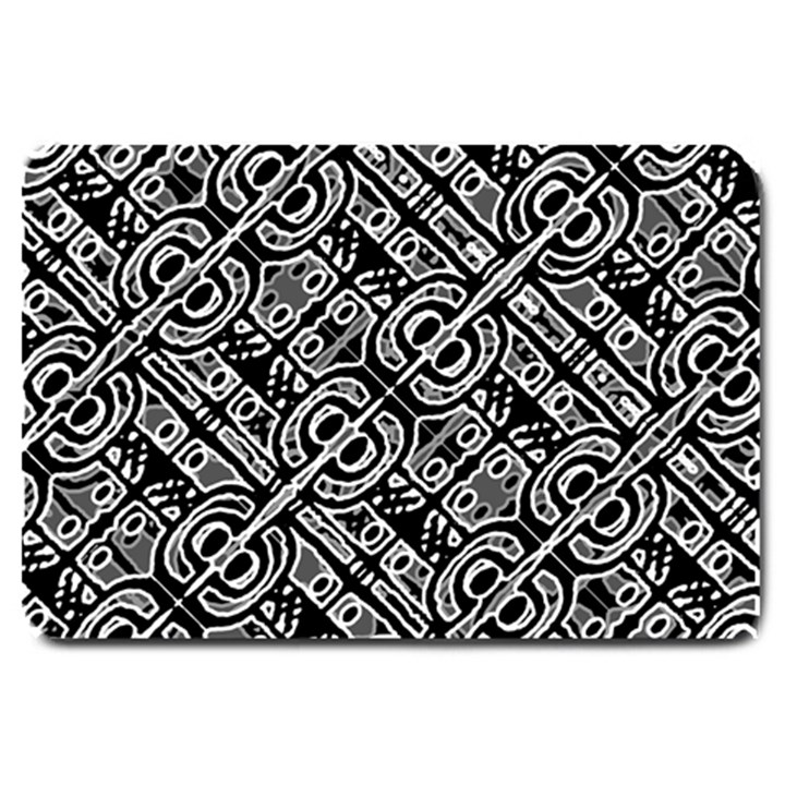 Linear Black And White Ethnic Print Large Doormat