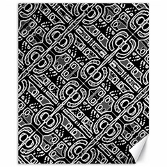Linear Black And White Ethnic Print Canvas 11  X 14  by dflcprintsclothing