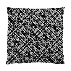 Linear Black And White Ethnic Print Standard Cushion Case (one Side)