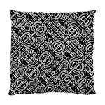 Linear Black And White Ethnic Print Standard Cushion Case (One Side) Front