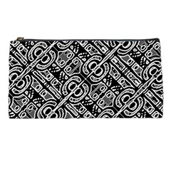 Linear Black And White Ethnic Print Pencil Case
