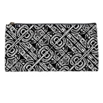 Linear Black And White Ethnic Print Pencil Case Front