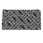 Linear Black And White Ethnic Print Pencil Case Back