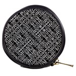 Linear Black And White Ethnic Print Mini Makeup Bag Front