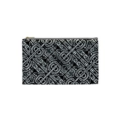 Linear Black And White Ethnic Print Cosmetic Bag (small)