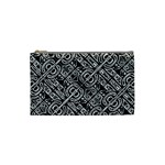 Linear Black And White Ethnic Print Cosmetic Bag (Small) Front