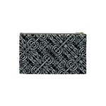 Linear Black And White Ethnic Print Cosmetic Bag (Small) Back