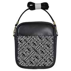 Linear Black And White Ethnic Print Girls Sling Bag by dflcprintsclothing