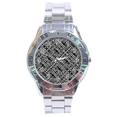 Linear Black And White Ethnic Print Stainless Steel Analogue Watch by dflcprintsclothing
