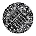 Linear Black And White Ethnic Print Round Filigree Ornament (Two Sides) Front