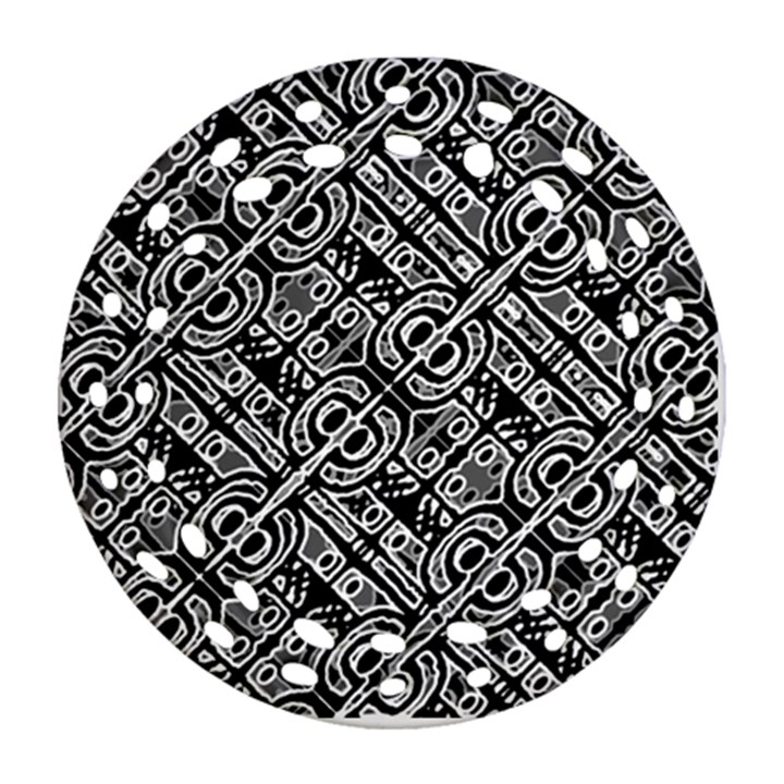 Linear Black And White Ethnic Print Round Filigree Ornament (Two Sides)