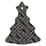 Linear Black And White Ethnic Print Christmas Tree Ornament (Two Sides) Front