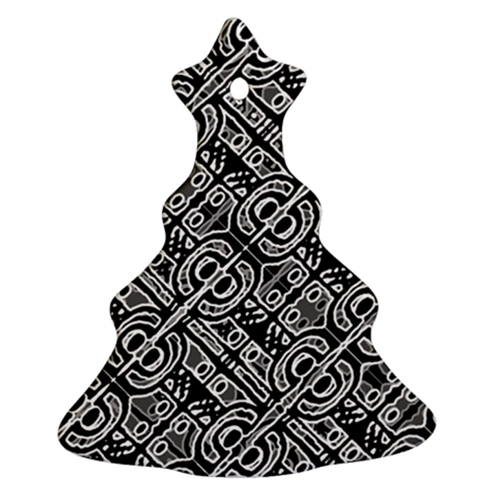 Linear Black And White Ethnic Print Christmas Tree Ornament (Two Sides)