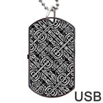 Linear Black And White Ethnic Print Dog Tag USB Flash (One Side) Front