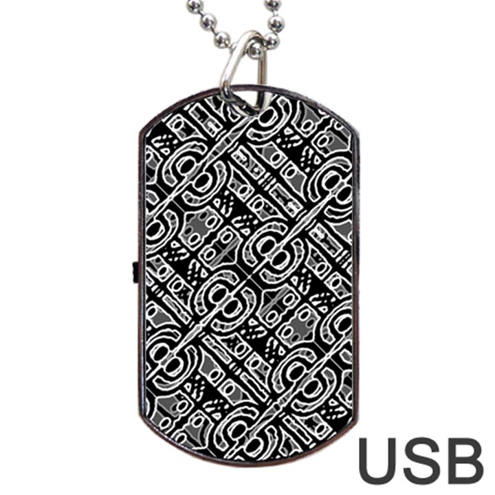 Linear Black And White Ethnic Print Dog Tag USB Flash (One Side)