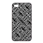Linear Black And White Ethnic Print iPhone 4/4s Seamless Case (Black) Front