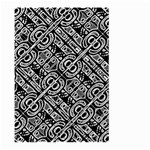 Linear Black And White Ethnic Print Large Garden Flag (Two Sides) Front