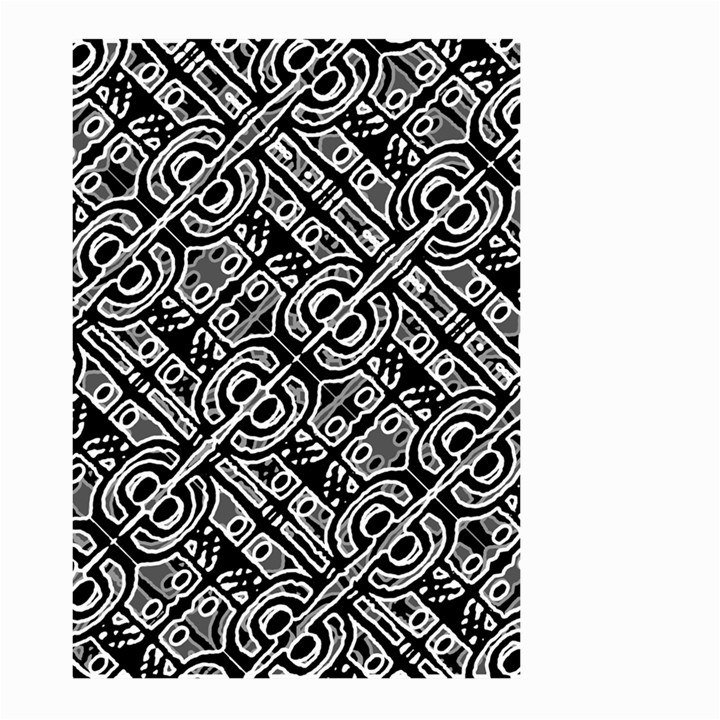 Linear Black And White Ethnic Print Large Garden Flag (Two Sides)