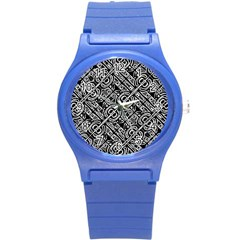 Linear Black And White Ethnic Print Round Plastic Sport Watch (s) by dflcprintsclothing