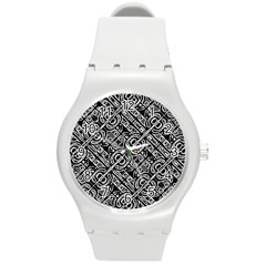 Linear Black And White Ethnic Print Round Plastic Sport Watch (m) by dflcprintsclothing