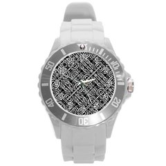 Linear Black And White Ethnic Print Round Plastic Sport Watch (l)