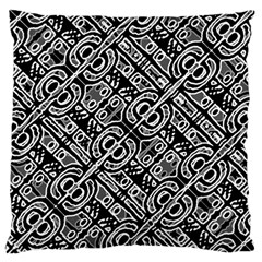 Linear Black And White Ethnic Print Large Cushion Case (one Side) by dflcprintsclothing