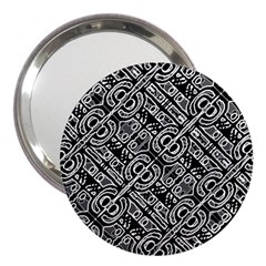Linear Black And White Ethnic Print 3  Handbag Mirrors by dflcprintsclothing