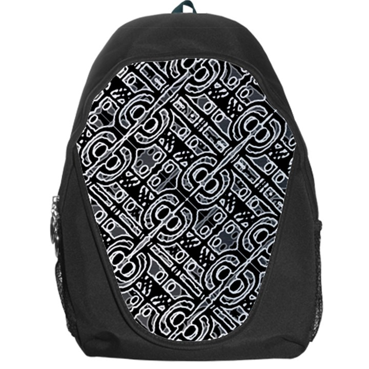 Linear Black And White Ethnic Print Backpack Bag