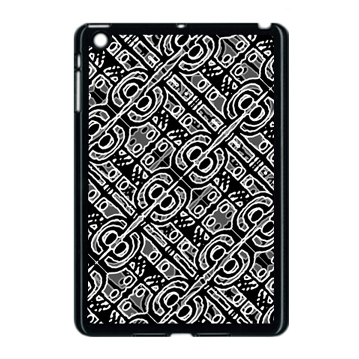 Linear Black And White Ethnic Print Apple iPad Mini Case (Black)