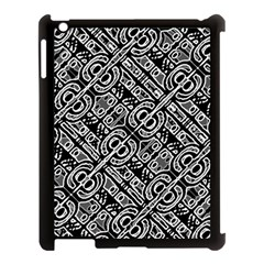 Linear Black And White Ethnic Print Apple Ipad 3/4 Case (black)