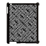 Linear Black And White Ethnic Print Apple iPad 3/4 Case (Black) Front