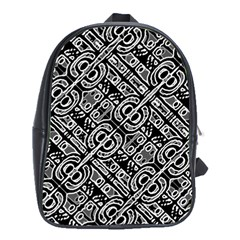Linear Black And White Ethnic Print School Bag (xl)