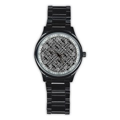Linear Black And White Ethnic Print Stainless Steel Round Watch by dflcprintsclothing