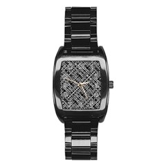 Linear Black And White Ethnic Print Stainless Steel Barrel Watch by dflcprintsclothing