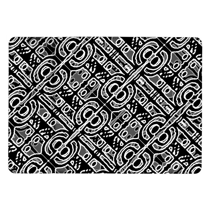Linear Black And White Ethnic Print Samsung Galaxy Tab 10.1  P7500 Flip Case