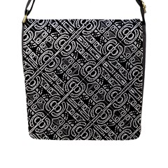 Linear Black And White Ethnic Print Flap Closure Messenger Bag (l) by dflcprintsclothing