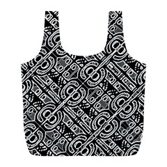 Linear Black And White Ethnic Print Full Print Recycle Bag (l)