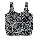 Linear Black And White Ethnic Print Full Print Recycle Bag (L) Back