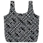 Linear Black And White Ethnic Print Full Print Recycle Bag (XL) Front