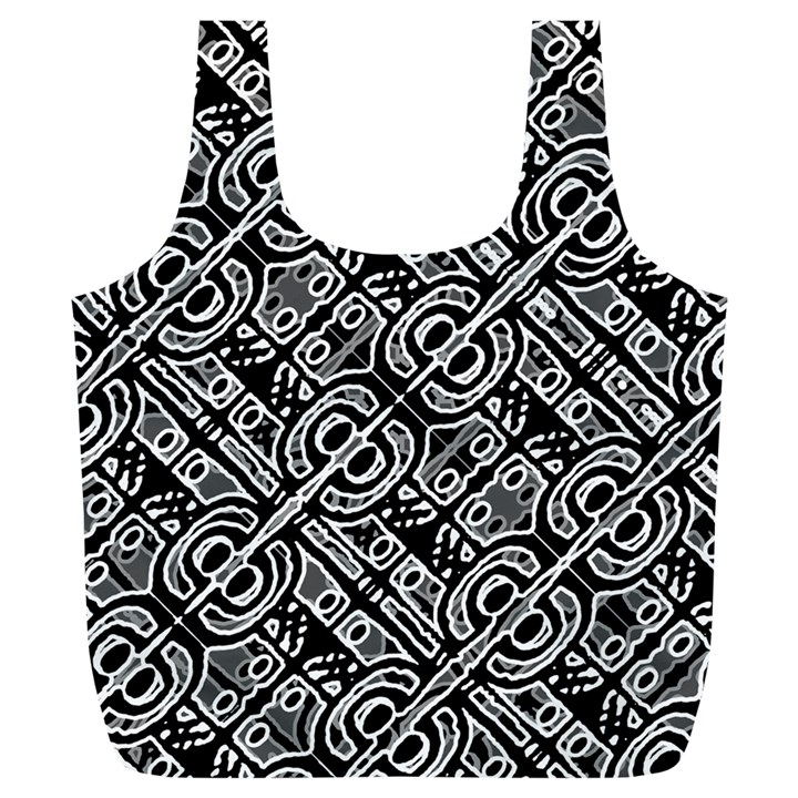 Linear Black And White Ethnic Print Full Print Recycle Bag (XL)
