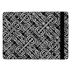 Linear Black And White Ethnic Print Samsung Galaxy Tab Pro 12 2  Flip Case by dflcprintsclothing